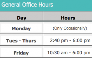 Ms. Reichlin's General Office Hours